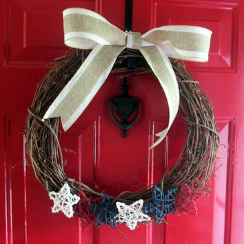Patriotic Fourth of July Holiday Grapevine Wreath - Patriotic Wreath - Front Door Wreath - Patriotic Door decor