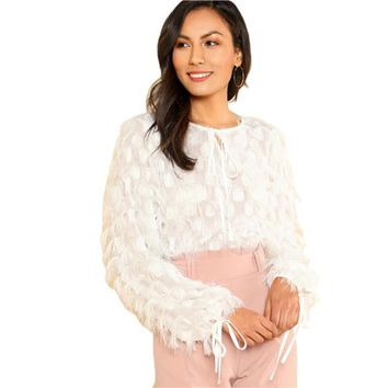 Fashion quard Fringe Top Solid White Long Sleeve Womens Tops