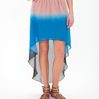 Women's High Low Hem Skirt in Blue/Black/Pink by Daytrip.