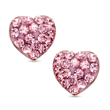 Pink Crystal Heart Stud Earrings in 14K Gold