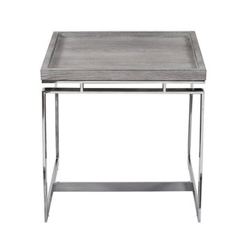 Denton Side Table Wood & Stainless Steel
