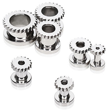 316L Surgical Steel Screw Fit Tunnel Plug with Spin Saw Flare