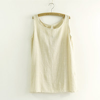 summer New Fashion Women Girl camis Casual Linen Vest Top tee Tank Sleeveless T Shirt Loose Blouse Signature Cotton tanks-0412