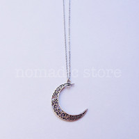 crescent moon sterling silver necklace - Nomadic Store