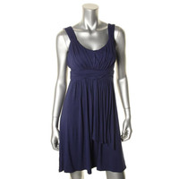 Style & Co. Womens Petites Jersey Ruched Tank Dress