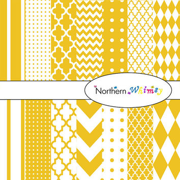 Gold & White Digital Paper Pack – scrapbooking paper in stripes, chevron, polka dot, harlequin, and quatrefoil – instant download – CU OK