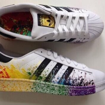 """Adidas"" Fashion Reflective Shell-toe Flats Sneakers Sport Shoes Colorful"