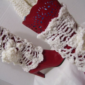 Lacy Crochet Boot Covers Leg Warmers White Bonus Matching Infinity Scarf  Custom Colors/Combination School Club Team Colors