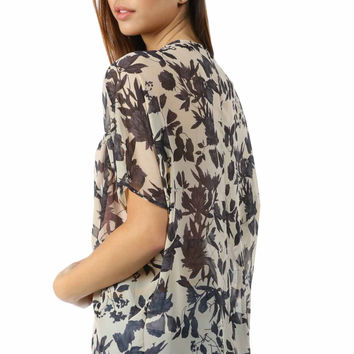Salt Tree Women's Dark Watercolor Floral Sheer Shrug, US Seller