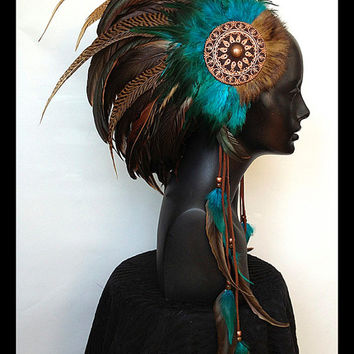 MADE TO ORDER Midsize Turquoise & Brown Warrior Style Headdress