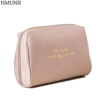 HMUNII Portable Make up Women Makeup Organizer Bag Girls Cosmetic Bag Toiletry Travel Kits Storage bag Hand bag A02-4-011