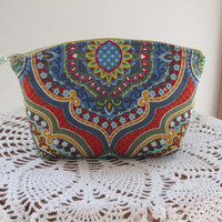 French Country, Bohemian, Bridal Clutch Cosmetic Bag  Purse Made in USA Antiquebasketlady