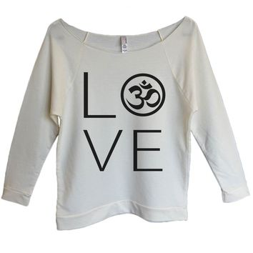 Heart I Love Ohm Womens 3/4 Long Sleeve Vintage Raw Edge Shirt