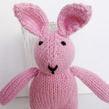 Baby Girl Easter Gift, Hand Knit Pink Bunny Rabbit, Soft Stuffed Animal, Ready To Ship, Newborn Child Photo Prop, Handmade Kids Toy  10 1/2""