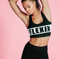 Missguided - Active Slogan Racer Back Sports Bra Black