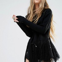 Moon River Long Fray Sweater Top