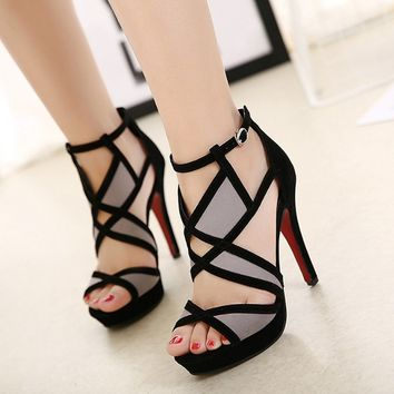 Women's High Heel Shoes Ankle Strap Sandals Sexy Casual Footwear