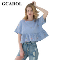 GCAROL 2017 Women Striped Blue Embroidery Blouse Peplum Design Cropped Summer Oversize Tops For Ladies