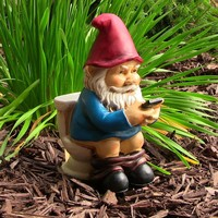 "Cody the Gnome Reading Phone on the Throne - 9.5"" Tall"
