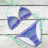 Still Waters Mint Tribal Triangle Bikini