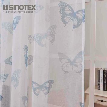 iSINOTEX Window Curtain Printed Pattern Butterfly Transparent Sheer Linen&Cotton Fabric For Home Living Room Screening 1PCS/Lot