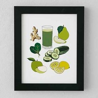 The Oyster's Pearl Green Juice Framed Art Print- Green One