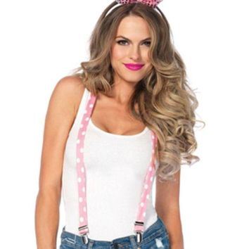 DCCKLP2 3PC.Sparkle Bunny Kit,suspenders,bow/tail,sequin ear headband in PINK