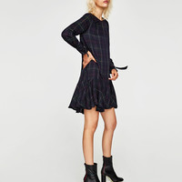 CHECKED DRESS WITH FRILL DETAILS