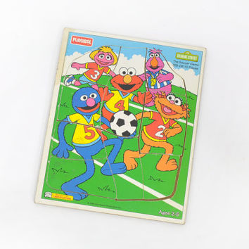 Playskool Puzzle • Vintage Playskool Wooden Puzzle • Sesame Street Muppets • Soccer Puzzle • Futball Puzzle • Elmo • Grover • Zoe