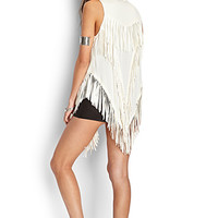 FOREVER 21 Faux Leather Fringed Vest