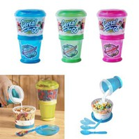 Cereal On The Go Cup EZ Freeze Gel Travel Food Storage Snack Container