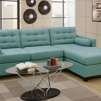Poundex F7571 2 pc Manhattan collection laguna linen like fabric upholstered sectional sofa with reversible chaise