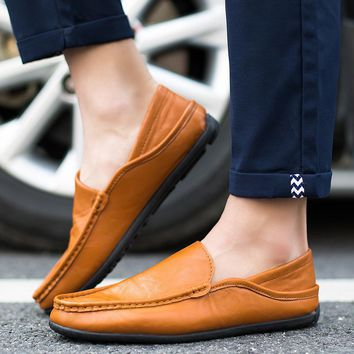Men's Flats Real Leather Spring Hot Men Shoes  Vintage Summer Tunis Designer Walking Shoes