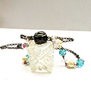Antique Bottle Necklace, Glass Vase Necklace, Small glass Vase Pendant, Vintage Bead Chain Necklace, Soldered Necklace