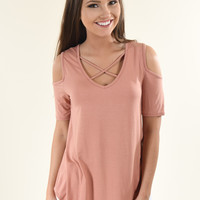 Apricot Criss-Cross Sleeve Top