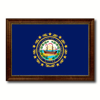 New Hampshire State Flag Canvas Print with Custom Brown Picture Frame Home Decor Wall Art Decoration Gifts