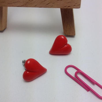 Red Heart Stud Earrings, Polymer Clay Jewelry, Handmade Earrings, Love, Heart, Gift Ideas, Mother's Day Gift, Love Accessories, Kawaii