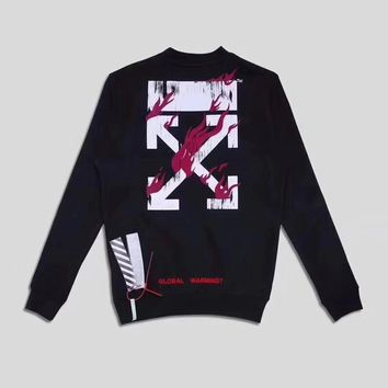 OFF-WHITE New Tide brand plus velvet flame arrow round neck pullover sweater