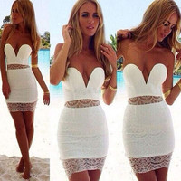 Stylish Lady Women's Fashion Sexy Strapless Backless Off-shoulder Mini Bodycon White Dress = 1658556292