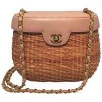 Chanel Tan Rattan and Leather Basket Shoulder Bag