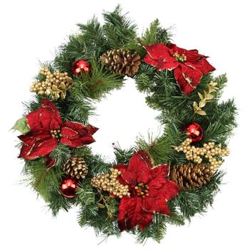 "24"" Artificial Mixed Pine with Red Poinsettias  Gold Pine Cones and Berries Christmas Wreath - Unlit"