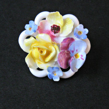 Vintage Flower Brooch Denton English Bone China