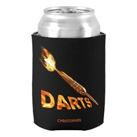 Darts With Golden Dart In Flames With Stylish Text Can Cooler