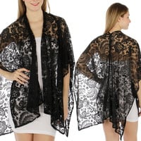 Women FLORAL PAISLEY LACE Kimono Scarf Shawl Poncho SUMMER Beach RUANA Cover Up