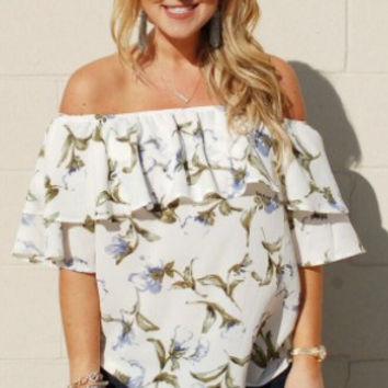 Fresh Blooms Off The Shoulder Top-White