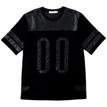 Perforated Leather Panel Black Tee