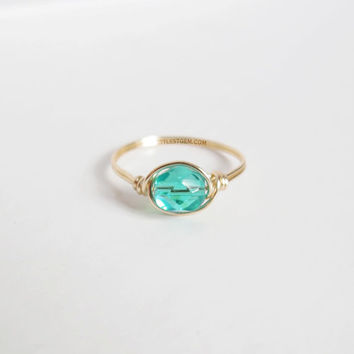 Teal Solitaire Ring - unique ring - wire wrapped ring - bohemian jewelry