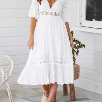 New White Patchwork Lace Pleated Cut Out V-neck Tutu Bohemian Maxi Dress