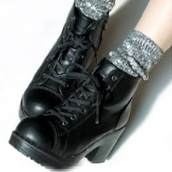 Hipster Neccessity Chunky Knit Heathered Boot Socks in Black   Sincerely Sweet Boutique