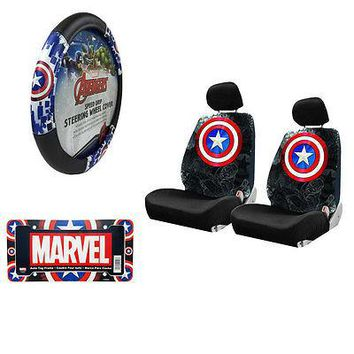 Licensed Official Captain America Car Truck Seat Covers Steering Wheel Cover & License Plate Frame